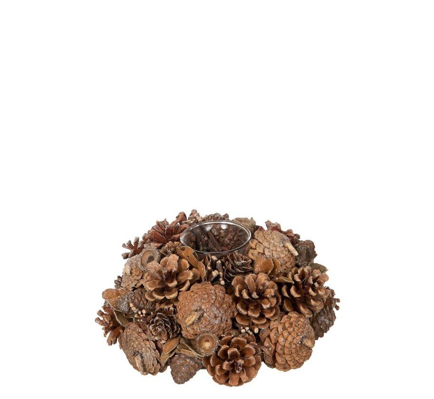 Tea Light Holder Glass Pine Cones Sugar - Brown