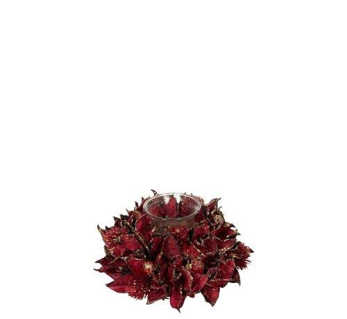 J -Line Tea Light Holder Glass Leaves Red - Glitter Gold