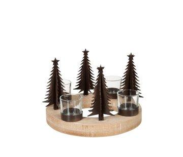J -Line Theelichthouder Kerstboom Hout Glas Metaal - Naturel