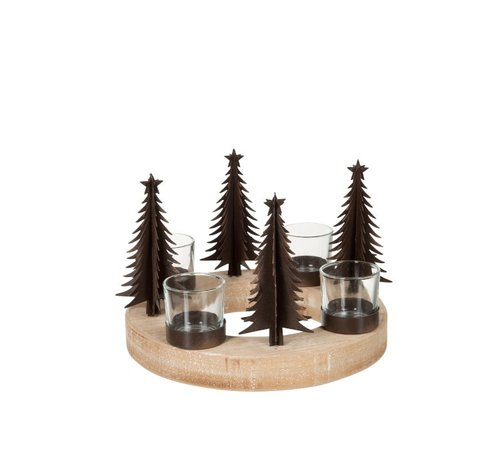 J -Line Tealight holder Christmas tree Wood Glass Metal - Natural