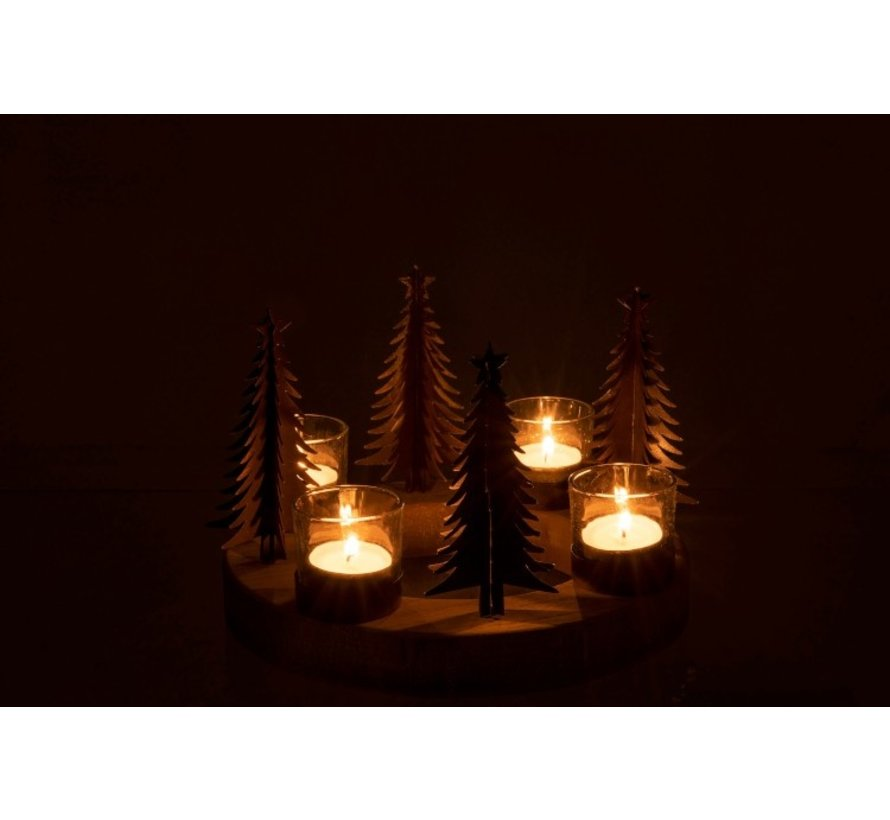 Tealight holder Christmas tree Wood Glass Metal - Natural