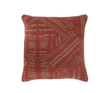 J -Line Cushion Cotton Ethnic Print Orange - Beige