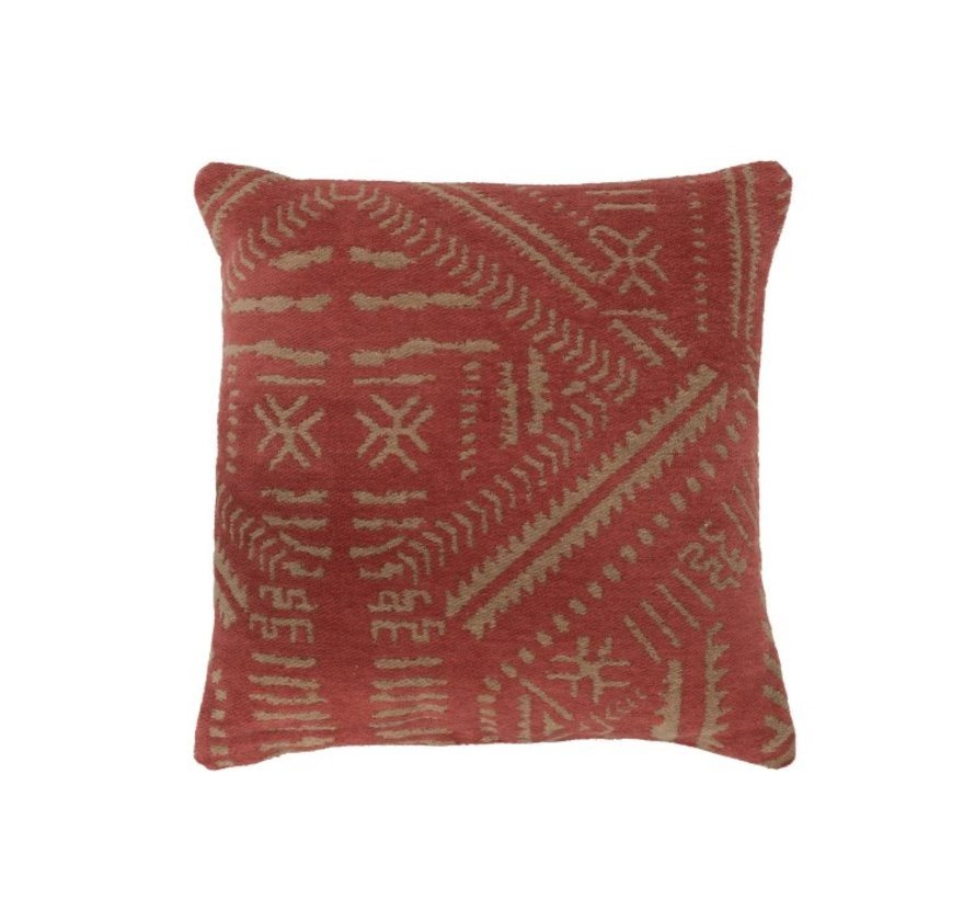 Cushion Cotton Ethnic Print Orange - Beige