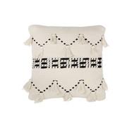 J-Line Cushion Cotton Linen Tassels Black - White