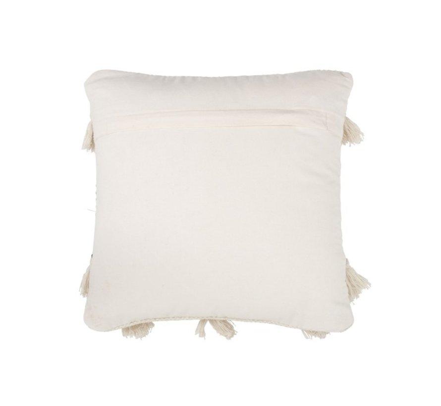 Cushion Cotton Linen Tassels Black - White