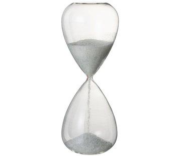 J-Line Decoratie Zandloper Glas Wit Parels - X Large