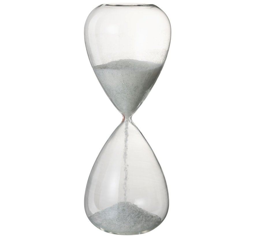 Decoratie Zandloper Glas Wit Parels - X Large