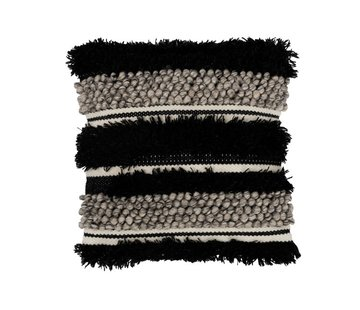 J -Line Kussen Vierkant Fluffy Wol Zwart - Wit