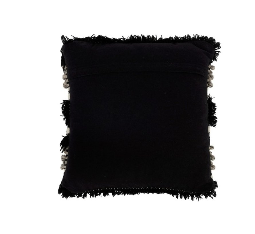 Kussen Vierkant Fluffy Wol Zwart - Wit