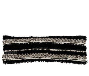 J -Line Kussen Lang Fluffy Wol Zwart - Wit