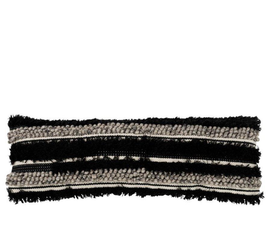 Cushion Long Fluffy Wool Black - White