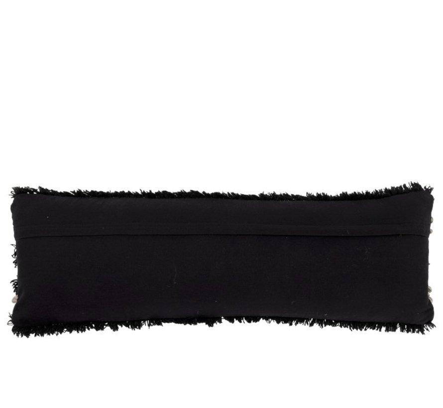 Kussen Lang Fluffy Wol Zwart - Wit