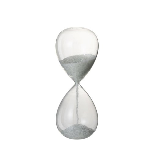 J -Line Decoratie Zandloper Glas Wit Parels - Large