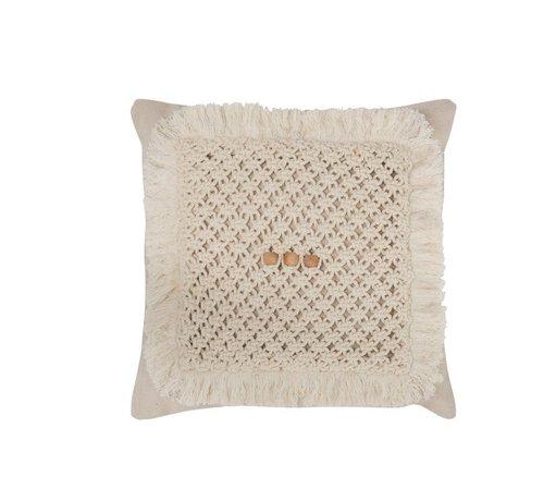 J -Line Cushion Square Crocheted Cotton - Cream