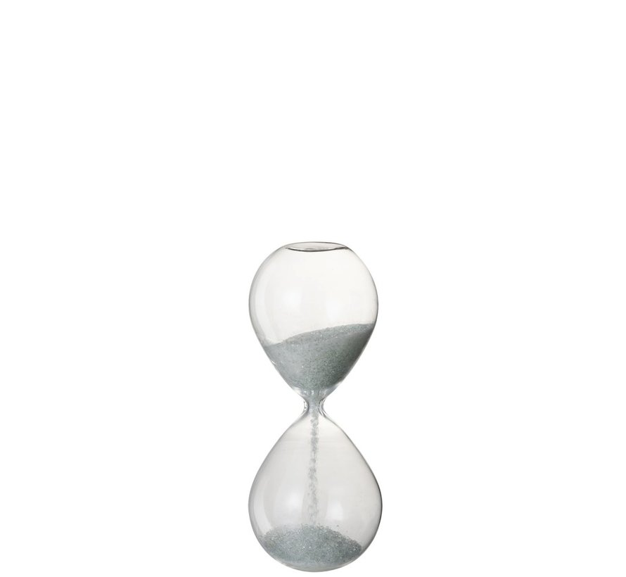 Decoration Hourglass Glass White Pearls - Medium