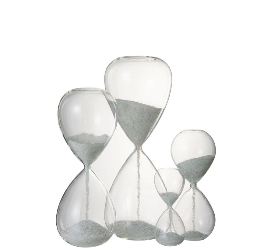 Decoratie Zandloper Glas Wit Parels - Small