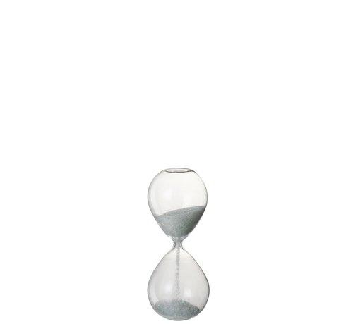 J -Line Decoratie Zandloper Glas Wit Parels - Small