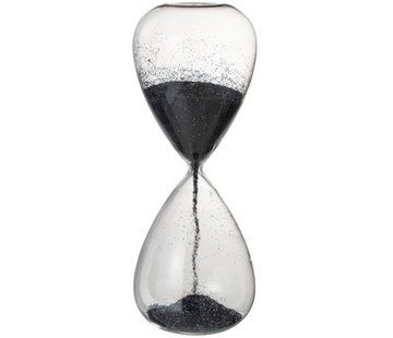 J-Line Decoratie Zandloper Glas Zwart Parels - X Large