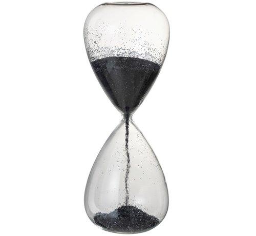 J-Line Decoration Hourglass Glass Black Pearls - X Large