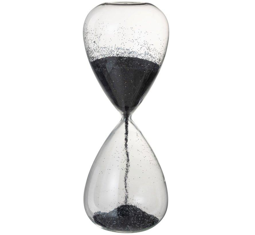 Decoratie Zandloper Glas Zwart Parels - X Large