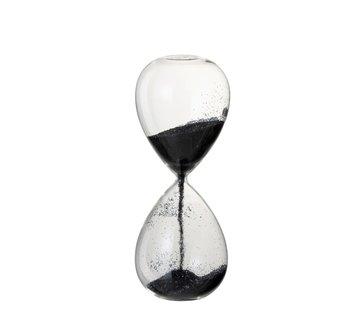 J -Line Decoratie Zandloper Glas Zwart Parels -  Large