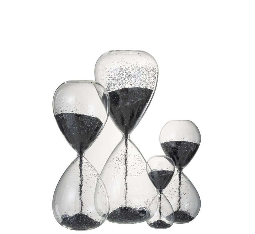 Decoration Hourglass Glass Black Pearls - Small