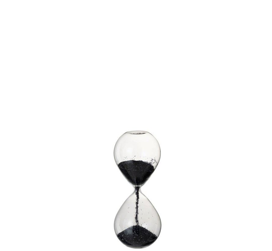 Decoratie Zandloper Glas Zwart Parels - Small
