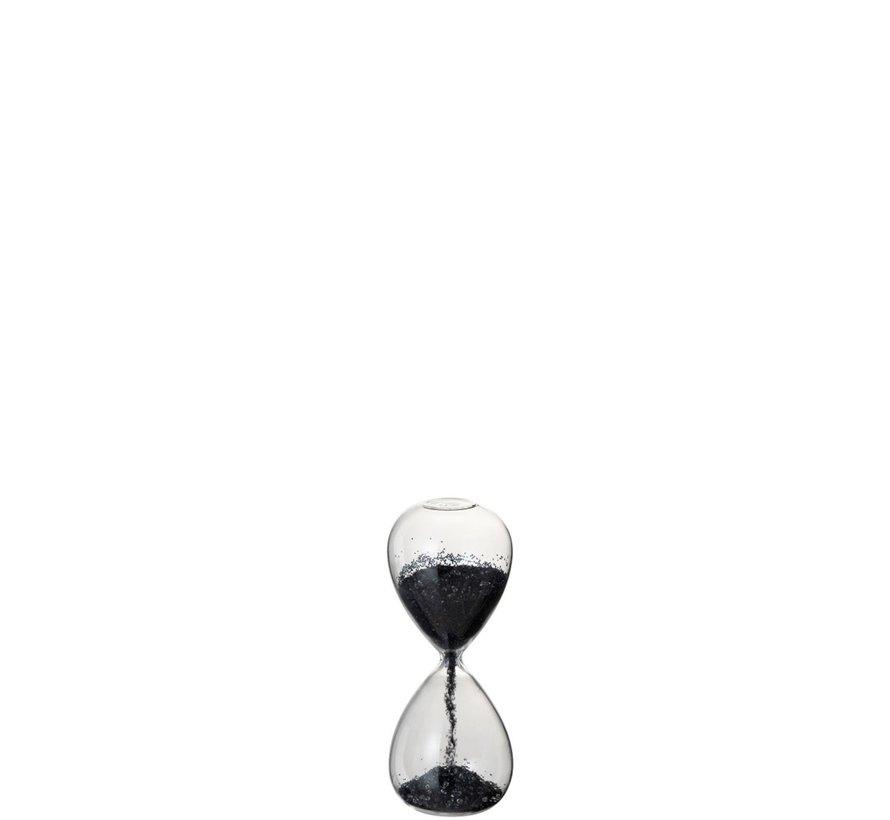 Decoratie Zandloper Glas Zwart Parels - X Small