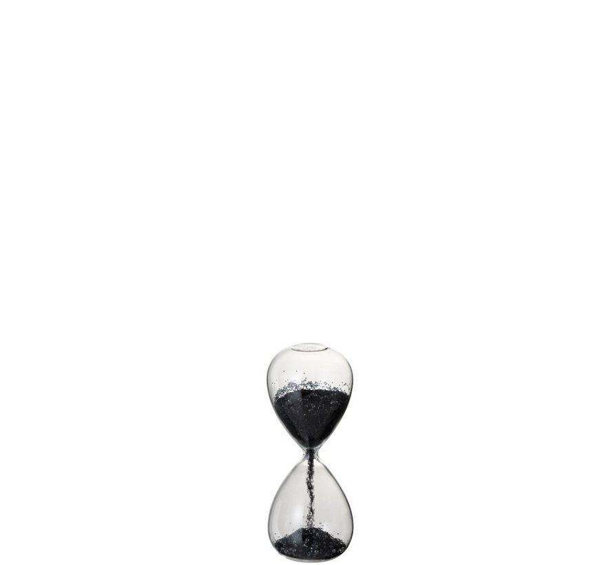 Decoration Hourglass Glass Black Pearls - X Large