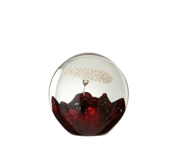 J -Line Paperweight Glass Bell Red Gold - Large