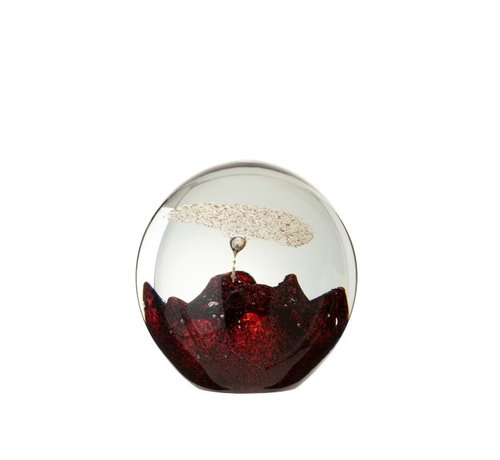 J-Line Paperweight Glass Bell Red Gold - Large