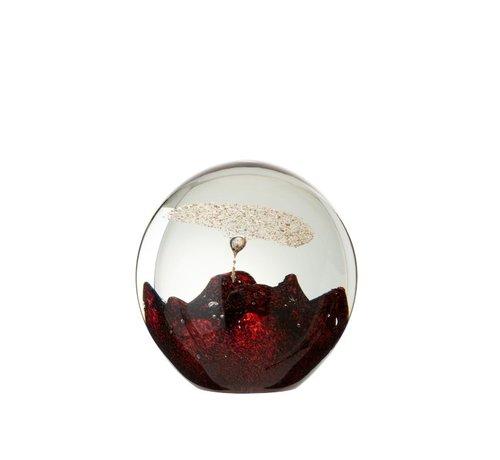 J -Line Papiergewicht Glas Bel Rood Goud - Large