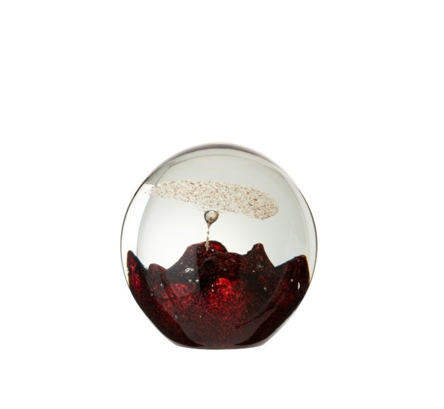 Papiergewicht Glas Bel Rood Goud - Large