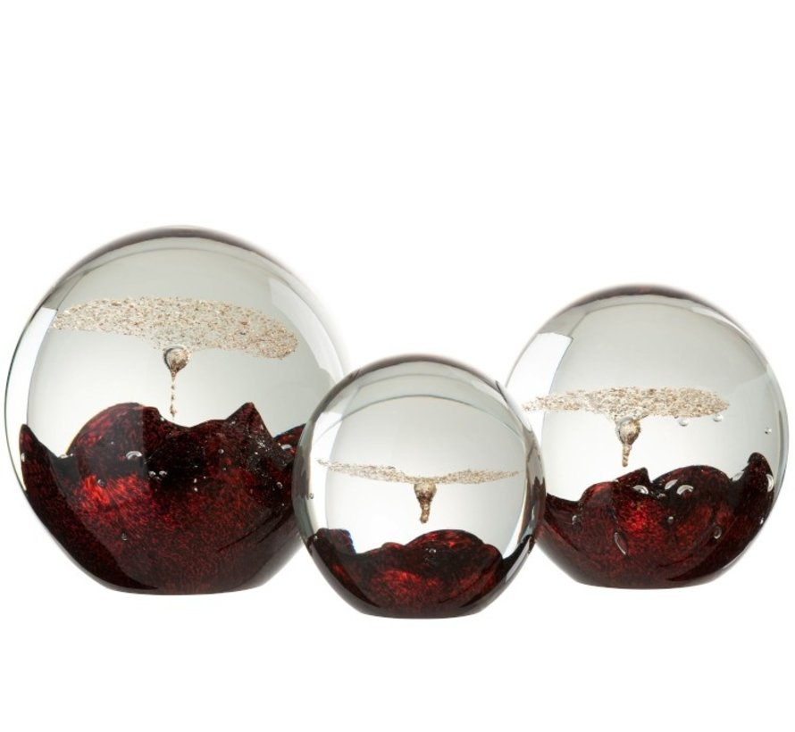 Papiergewicht Glas Bel Rood Goud - Medium
