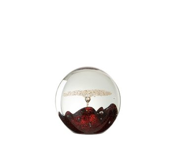 J -Line Paperweight Glass Bell Red Gold - Medium