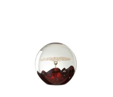 J -Line Papiergewicht Glas Bel Rood Goud - Medium