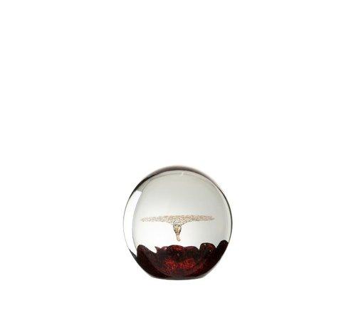 J -Line Papiergewicht Glas Bel Rood Goud - Small