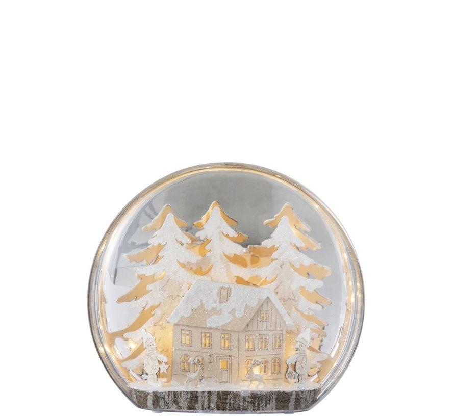 Decoration Bulb Glass Winter Figures House Led Acrylic - White