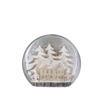 J -Line Decoration Bulb Glass Winter Figures House Led Acrylic - White