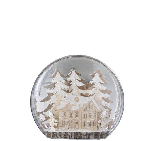 J -Line Decoratie Bol Glas Winter Figuren Huis Led Acryl - Wit