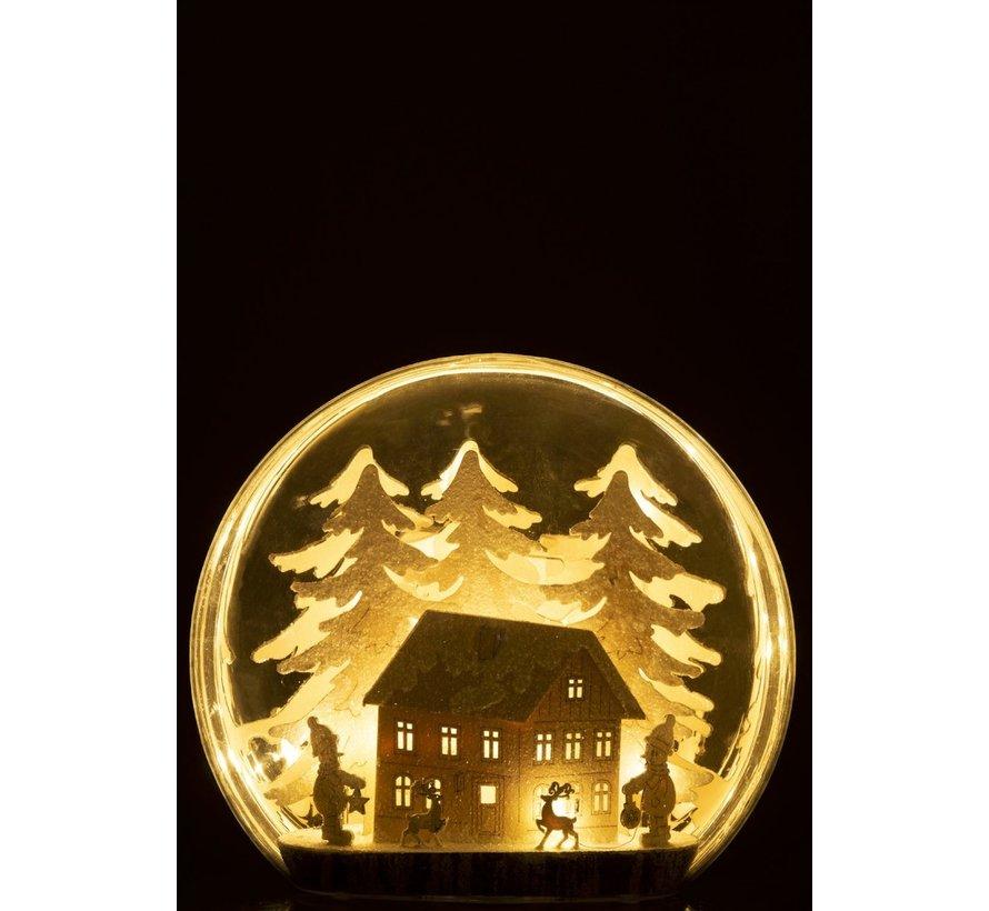 Decoratie Bol Glas Winter Figuren Huis Led Acryl - Wit
