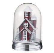 J -Line Decoratie Stolp Glas Winter Huis Led Acryl Rood - Large