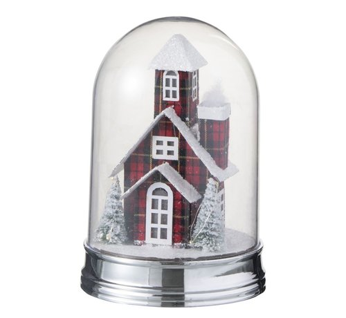J -Line Decoratie Stolp Glas Winter Huis Led Acryl Rood - Large
