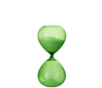J-Line Decoration Hourglass Glass Transparent - Green