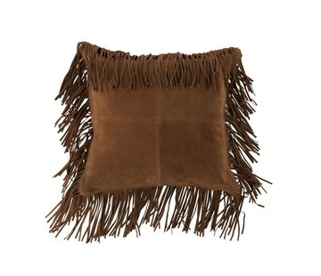 J -Line Cushion Square fringes Leather - Cognac
