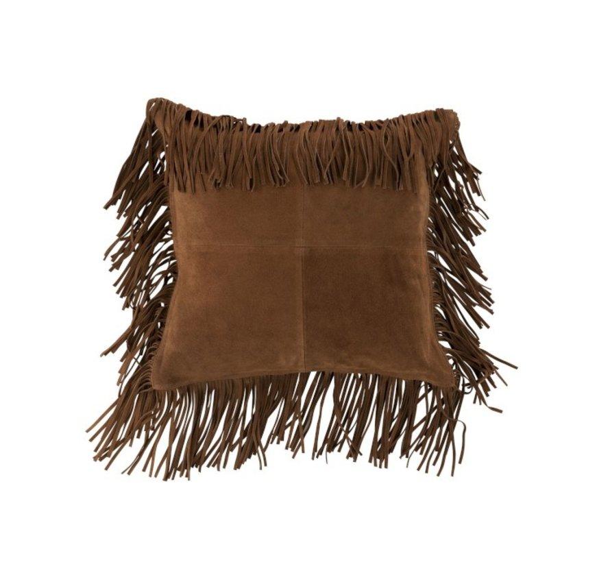 Cushion Square fringes Leather - Cognac