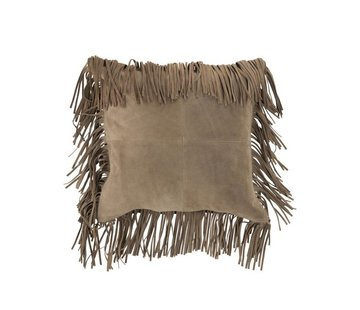 J -Line Cushion Square fringed Leather - Beige