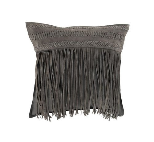 J -Line Cushion Square fringes Leather - Gray
