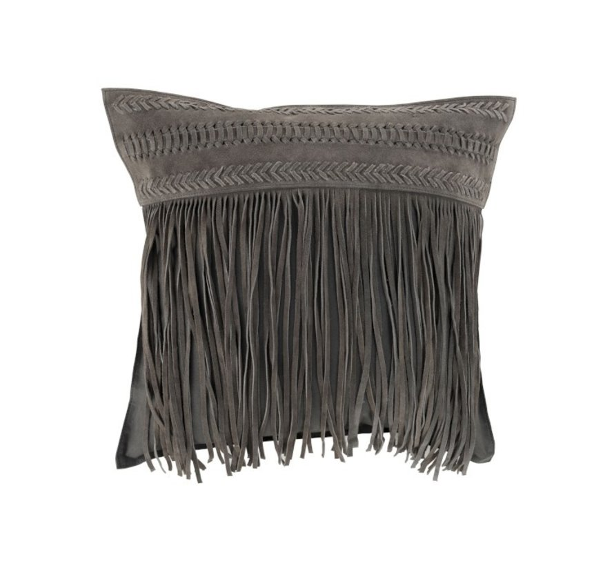 Cushion Square fringes Leather - Gray