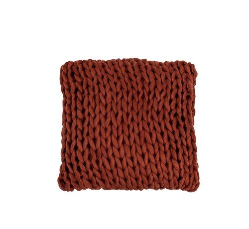J-Line  Kussen Vierkant Gebreid Textiel - Rood